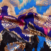Black-Blue and Golden Floral Pattern Brocade Silk Fabric-5386