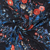 Black-Blue and Red Flower Silk Crepe Fabric-18146