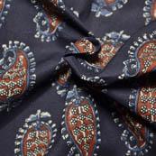 Black-Blue and Red Paisley Pattern Kalamkari Block Fabric-14029
