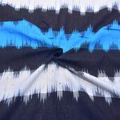 Black-Blue and White Unique Design Ikat Fabric-12037