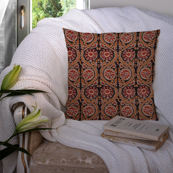 Black-Brown and Red Cotton Cushion Cover-35010