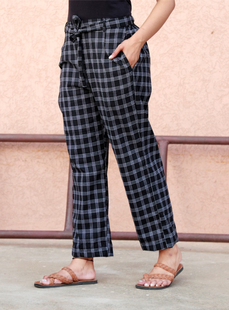 Black Cotton Checks Women Pants with Loose Belt-33225