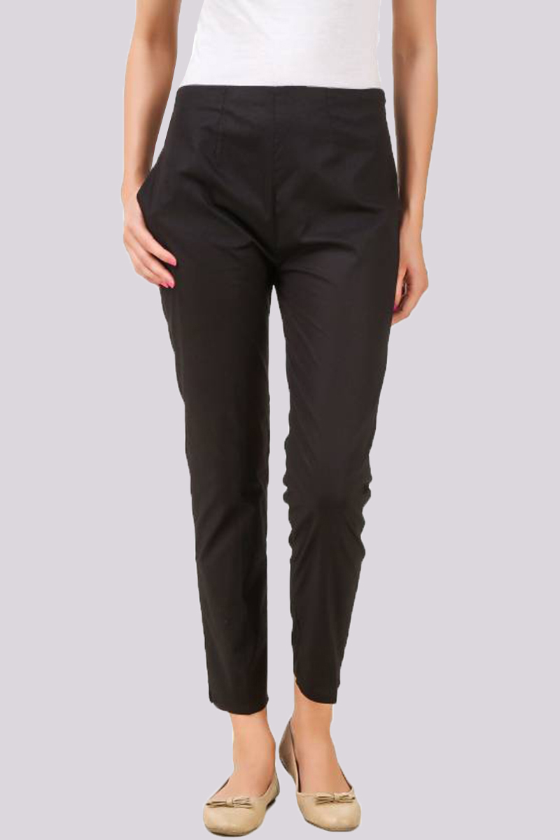Black Cotton Flex Pant with Side Chain and Pocket-33391