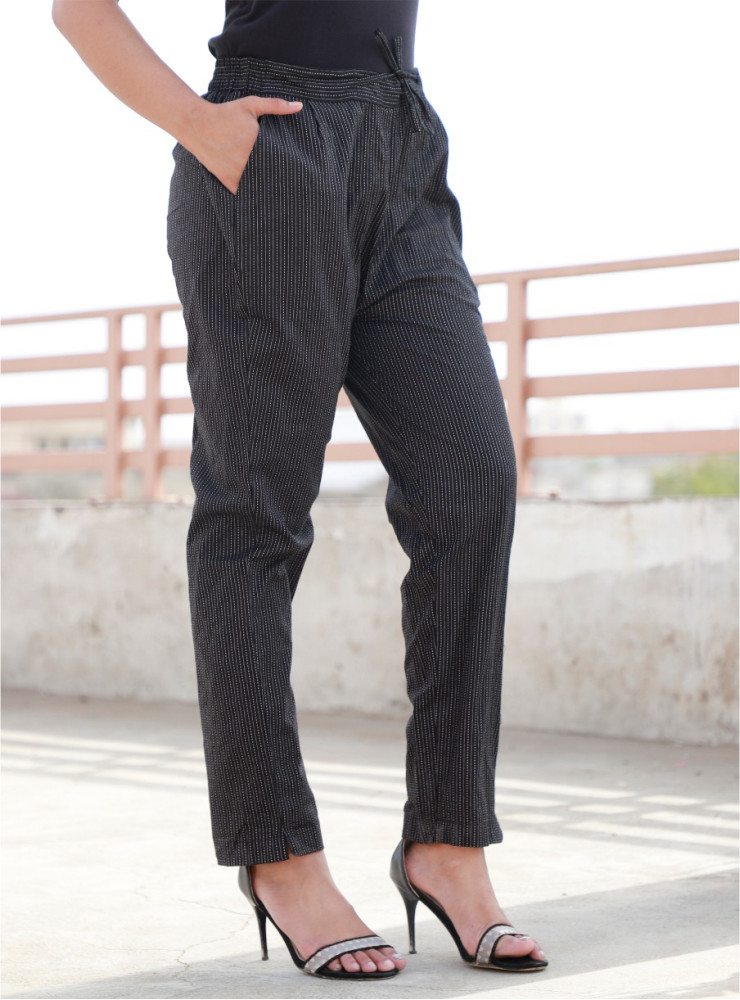 Black Cotton Kantha Narrow Pant-33469