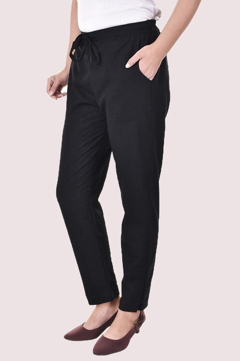 Black Cotton Slub Solid Women Pant-33290
