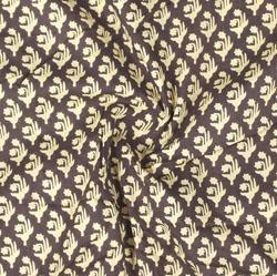 Black Cream Block Print Cotton Fabric-16004