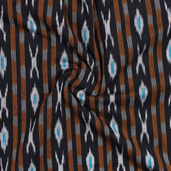 Black Cyan and Orange Ikat Cotton Fabric-11066