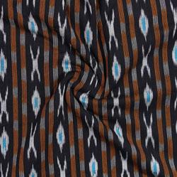 Black Cyan and Orange Ikat Cotton Fabric-11066