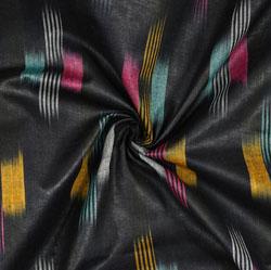 Black Cyan and White Ikat Cotton Fabric-11090