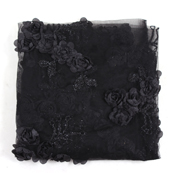 Black Flower Net Embroidery Fabric-60859