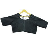 Black Flower Silk Brocade Blouse-30111