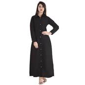 Black Full Sleeve Long Cotton Kurti-3018