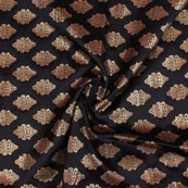 Black Golden Brocade Silk Fabric-9209