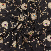 Black Golden Flower Embroidery Chinon Fabric-35012