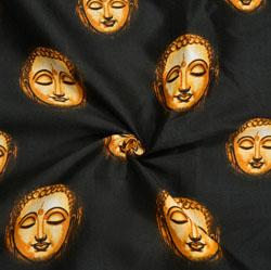 Black Golden Buddha Cotton Kalamkari Fabric-28024