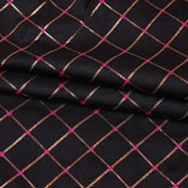 Black Golden Checks Zari Brocade Silk Fabric-9290
