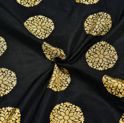 Black Golden Circle Brocade Silk Fabric-12050