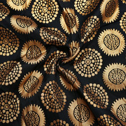 Black Golden Circle Brocade Silk Fabric-12140