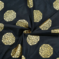 Black Golden Circle Brocade Silk Fabric-12260