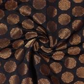Black Golden Circle Brocade Silk Fabric-9206