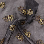 Black Golden Embroidery Organza Fabric-51501