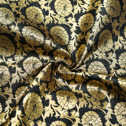 Black Golden Floral Brocade Silk Fabric-12120