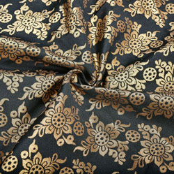 Black Golden Floral Brocade Silk Fabric-12365