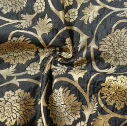 Black Golden Floral Brocade Silk Fabric-12382