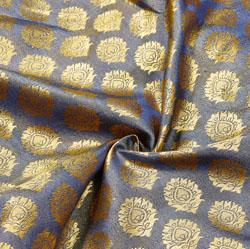 Black Golden Floral Brocade Silk Fabric-12523