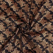Black Golden Floral Brocade Silk Fabric-9207
