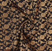 Black Golden Floral Brocade Silk Fabric-9374