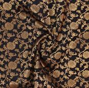 Black Golden Floral Brocade Silk Fabric-9374