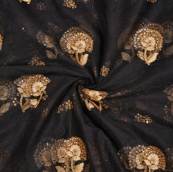 Black Golden Floral Net Embroidery Fabric-19094