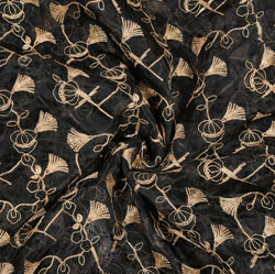 Black Golden Floral Organza Embroidery Fabric-22230