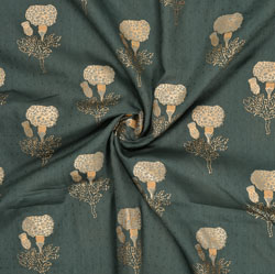 Black Golden Floral Rayon Fabric-16239