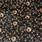 Black Golden Flower embroidery Organza Silk Fabric-51516