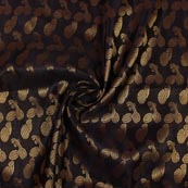 Black Golden Music Instrument Brocade Silk Fabric-9346