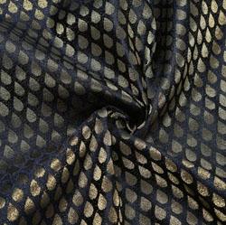 Black Golden Paisley Brocade Silk Fabric-12276