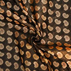 Black Golden Paisley Brocade Silk Fabric-12552