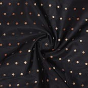 Black Golden Polka Brocade Silk Fabric-9357