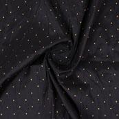 Black Golden Polka Taffeta Silk Fabric-9058