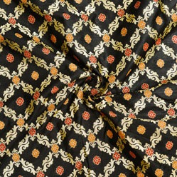 Black Golden and Orange Floral Brocade Silk Fabric-12540