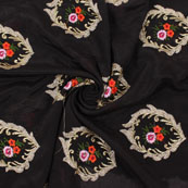 Black Golden and Orange Flower Embroidery Chinon Fabric-35008