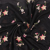 Black Golden and Pink Flower Embroidery Chinon Fabric-35002
