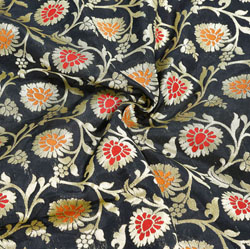 Black Golden and Red Floral Brocade Silk Fabric-12339