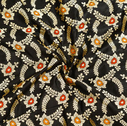 Black Golden and Red Floral Brocade Silk Fabric-12537