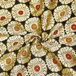 Black Golden and Yellow Circle Banarasi Silk Fabric-12589