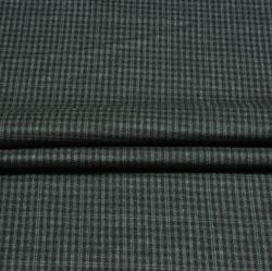 Black Gray Check Wool Fabric-90138