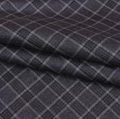 Black Gray Checks Wool Fabric-90096