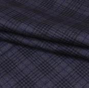 Black Gray Checks Wool Fabric-90098